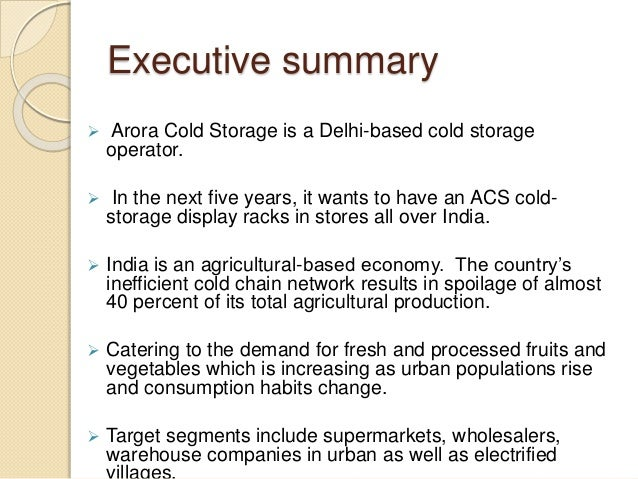 ... Controls; 3. Executive summary ? Arora Cold Storage ...  sc 1 st  SlideShare & Cold Storage Marketing Plan Group 14