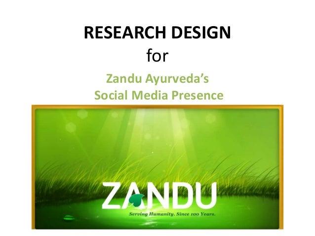 RESEARCH DESIGN for Zandu Ayurveda's Social Media Presence