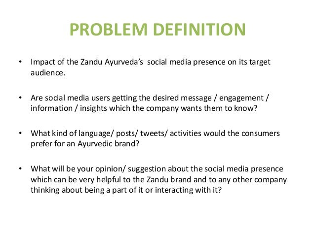 Marketing Research Design For Zandu Ayurveda S Social Media Presence