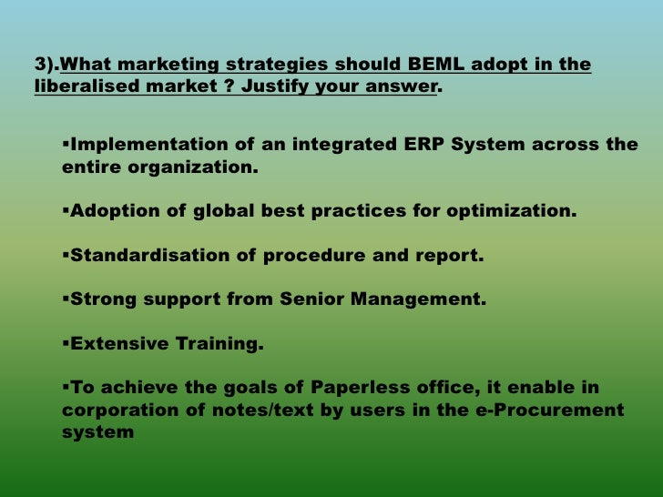 report of beml Synopsiswmi's beml limited contains a company overview, key facts, locations and subsidiaries, news and events as well as a swot analysis of the companysummar.