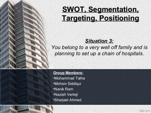 SWOT, Segmentation,    Targeting, Positioning              Situation 3:You belong to a very well off family and is plannin...