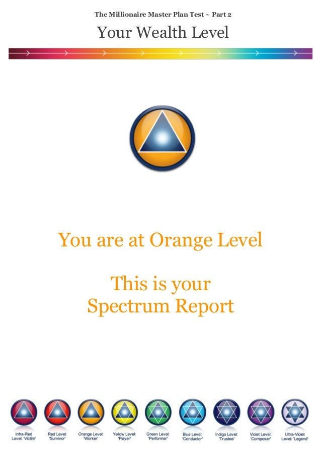 ! ! ! ! ! ! ! ! ! ! ! ! ! ! You are at Orange Level ! This is your Spectrum Report ! The Millionaire Master Plan Test ~ Pa...