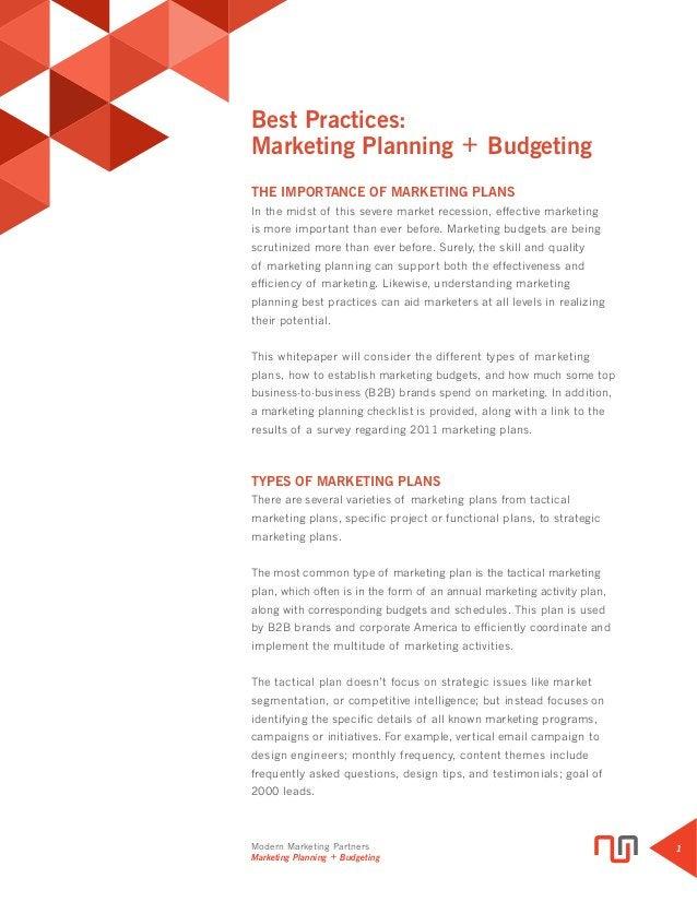 Modern Marketing Partners Marketing Planning + Budgeting 1 Best Practices: Marketing Planning + Budgeting THE IMPORTANCE O...