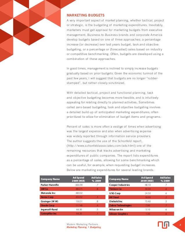 Modern Marketing Partners Marketing Planning + Budgeting 3 MARKETING BUDGETS A very important aspect of market planning, w...
