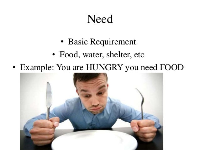 Need • Basic Requirement • Food, water, shelter, etc • Example: You are HUNGRY you need FOOD