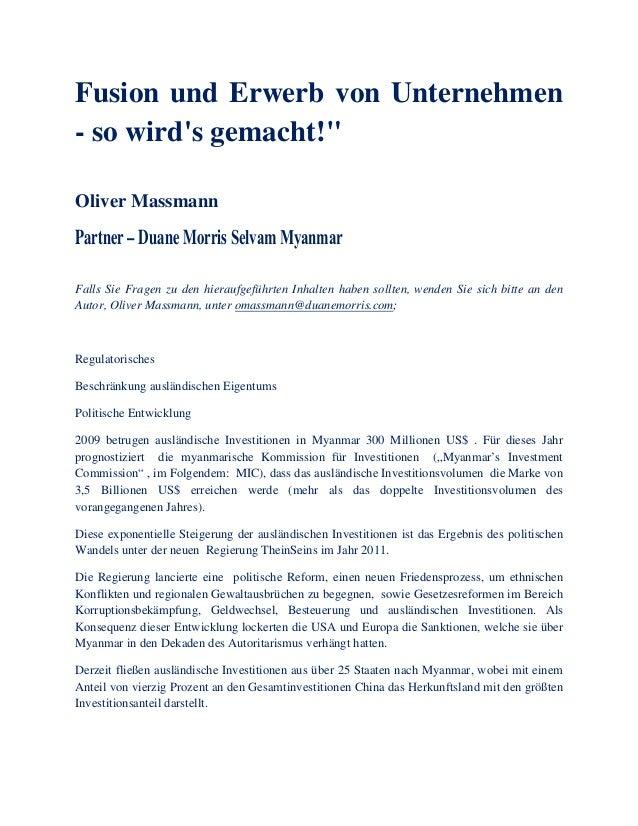 """Fusion und Erwerb von Unternehmen - so wird's gemacht!"""" Oliver Massmann Falls Sie Fragen zu den hieraufgeführten Inhalten ..."""
