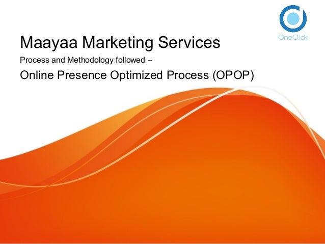 Maayaa Marketing Services Process and Methodology followed – Online Presence Optimized Process (OPOP)