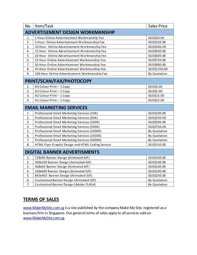 price list by make my site singapore