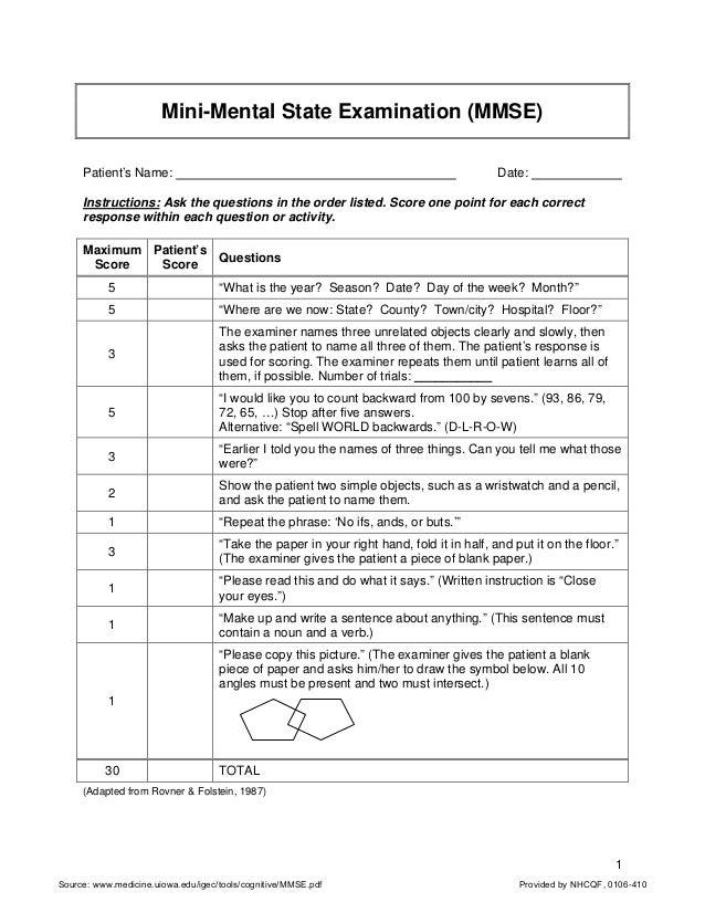 graphic regarding Mini Mental Status Exam Printable titled Mini-Psychological Place Assessment