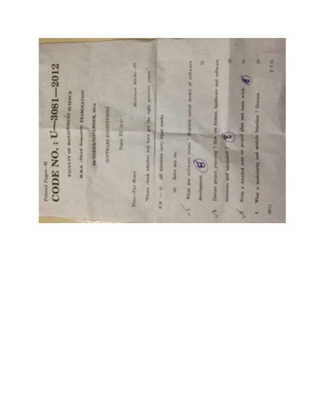 Master of Management science computers MMS SEM III BAMU 2012 QUESTION PAPER SOFTWARE ENGINEERING
