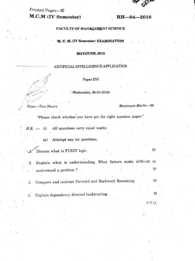 Artificial Intelligence Question Paper MMS Aurangabad