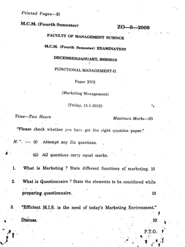 Functional Management Question paper Aurangabad  MMS