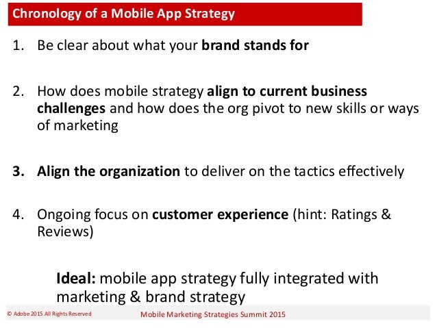 Mobile Marketing Strategies Summit 2015© Adobe 2015 All Rights Reserved Chronology of a Mobile App Strategy 1. Be clear ab...