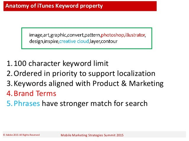 Mobile Marketing Strategies Summit 2015© Adobe 2015 All Rights Reserved Anatomy of iTunes Keyword property 1.100 character...