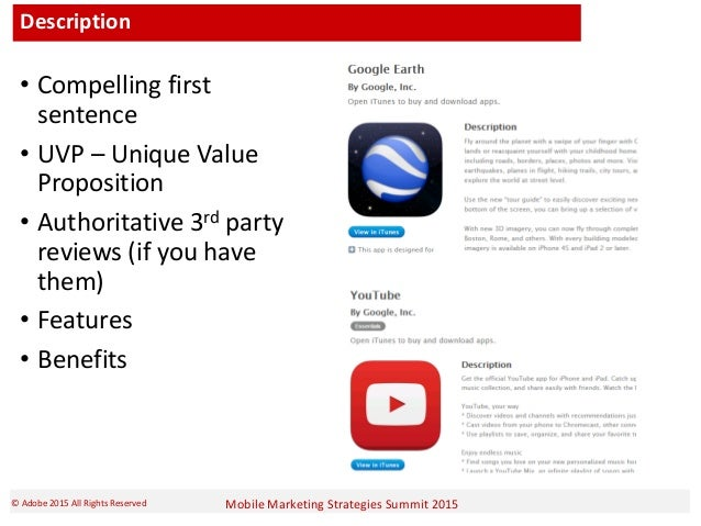 Mobile Marketing Strategies Summit 2015© Adobe 2015 All Rights Reserved Description • Compelling first sentence • UVP – Un...