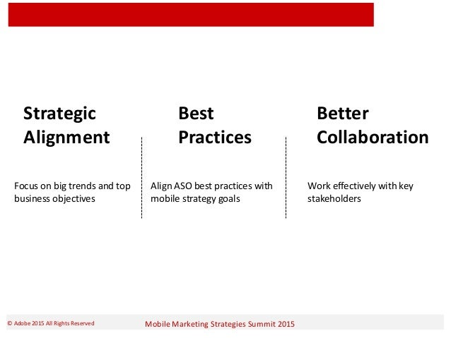 Mobile Marketing Strategies Summit 2015© Adobe 2015 All Rights Reserved Strategic Alignment Best Practices Better Collabor...