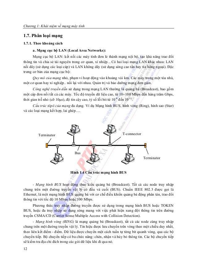 Chương 1: Khái niệm về mạng máy tính1.7. Phân loại mạng1.7.1. Theo khoảng cách     a. Mạng cục bộ LAN (Local Area Networks...