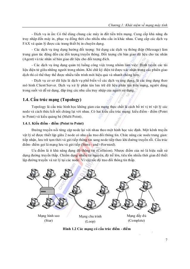 Chương 1: Khái niệm về mạng máy tính      - Dịch vụ in ấn: Có thể dùng chung các máy in đắt tiền trên mạng. Cung cấp khả n...
