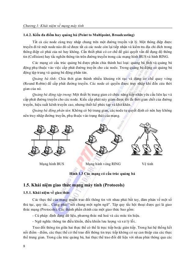 Chương 1: Khái niệm về mạng máy tính1.4.2. Kiểu đa điểm hay quảng bá (Point to Multipoint, Broadcasting)      Tất cả các n...