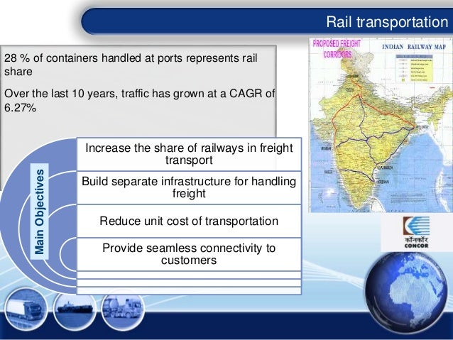 Rail transportation 28 % of containers handled at ports represents rail share Over the last 10 years, traffic has grown at...