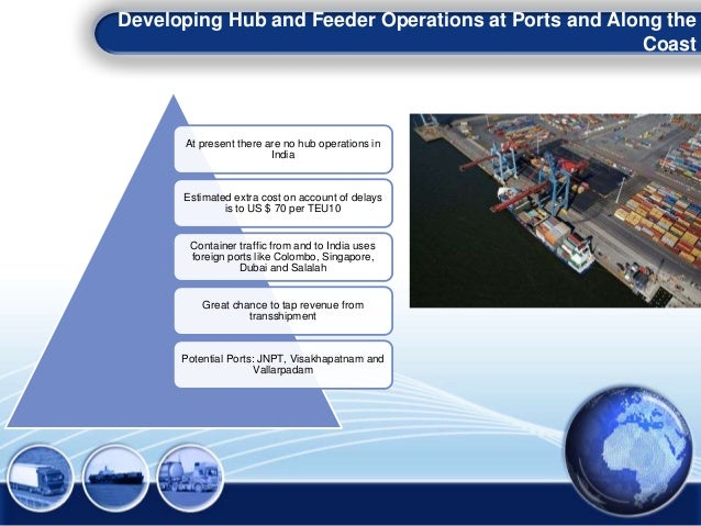 Developing Hub and Feeder Operations at Ports and Along the Coast At present there are no hub operations in India Estimate...