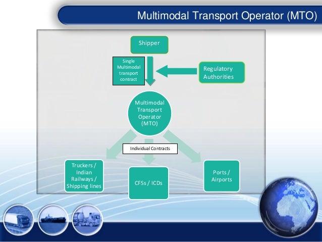 Multimodal Transport Operator (MTO) Shipper Regulatory Authorities Single Multimodal transport contract Multimodal Transpo...