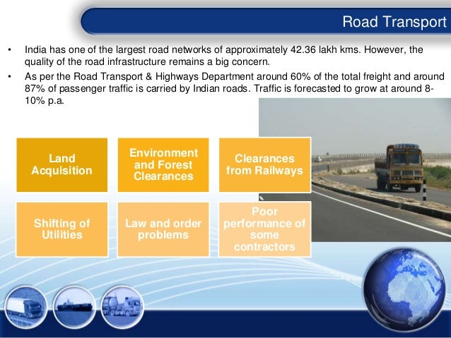 • India has one of the largest road networks of approximately 42.36 lakh kms. However, the quality of the road infrastruct...