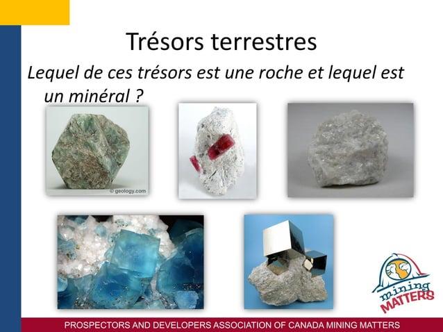 PROSPECTORS AND DEVELOPERS ASSOCIATION OF CANADA MINING MATTERS Trésors terrestres Lequel de ces trésors est une roche et ...