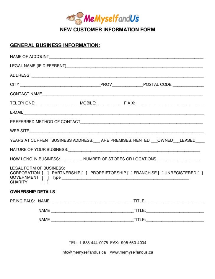 M m u new customer form for New account application form template