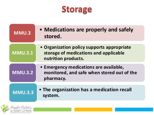 Procedures of the receipt storage and administration of medicines