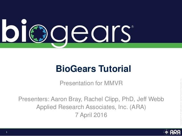1 Presentation for MMVR Presenters: Aaron Bray, Rachel Clipp, PhD, Jeff Webb Applied Research Associates, Inc. (ARA) 7 Apr...
