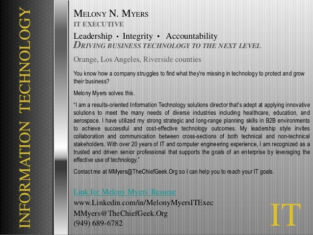 Melony myers chief information technology officer - Chief information technology officer ...