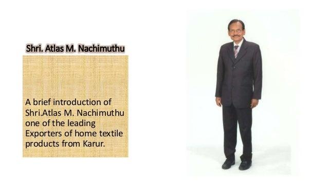 KOCAS Chairman Atlas  M  NACHIMUTHU
