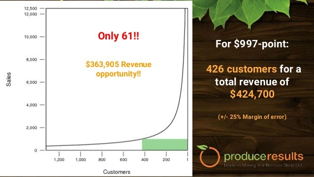 Revenue Opportunity ● $100,000 - 2 Customers - $200,000 ● $50,000 - 4 Customers - $200,000 ● $10,997 - 26 Customers - $285...