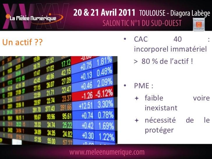 Un actif ??   • CAC         40        :                incorporel immatériel                > 80 % de l'actif !           ...