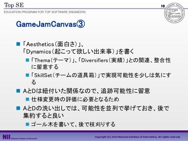 10  GameJamCanvas③  「Aesthetics(面白さ)」、 「Dynamics(起こって欲しい出来事)」を書く  「Thema(テーマ)」、「Diversifiers(実績)」との関連、整合性 に留意する  「Skill...
