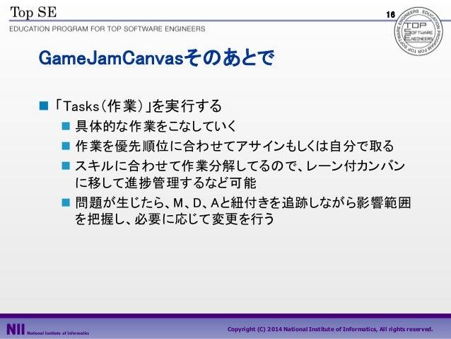 16  GameJamCanvasそのあとで  「Tasks(作業)」を実行する  具体的な作業をこなしていく  作業を優先順位に合わせてアサインもしくは自分で取る  スキルに合わせて作業分解してるので、レーン付カンバン に移して進捗管...