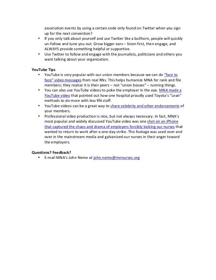 Social Media Tip Sheet for Labor Unions & Associations Slide 3