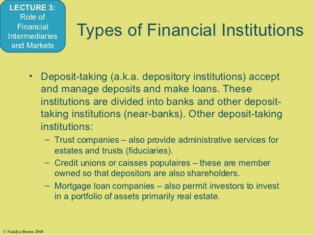 4 types of financial institutions