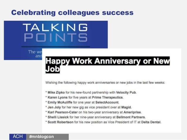 ACHACH Celebrating colleagues success #mnblogcon