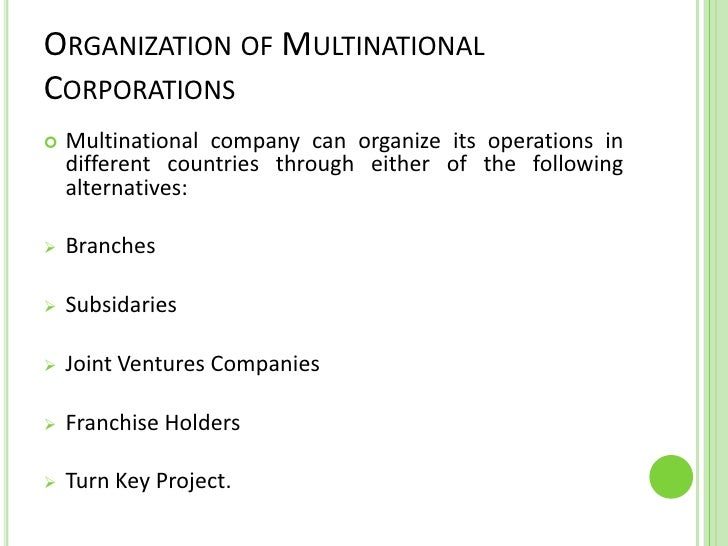 different types of multinational corporations