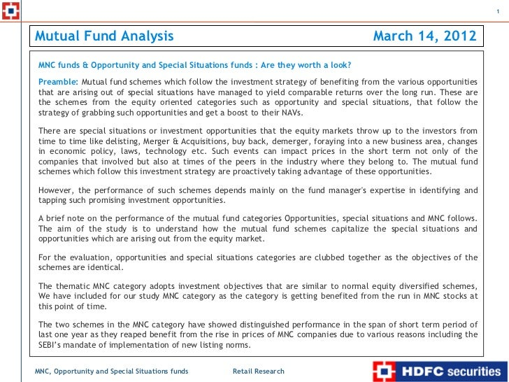 1Mutual Fund Analysis                                                                      March 14, 2012    MNC funds & O...