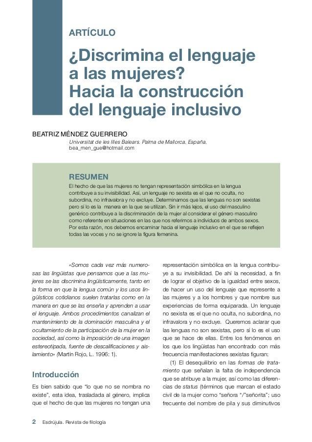 2 Esdrújula. Revista de filología «Somos cada vez más numero- sas las lingüistas que pensamos que a las mu- jeres se las ...