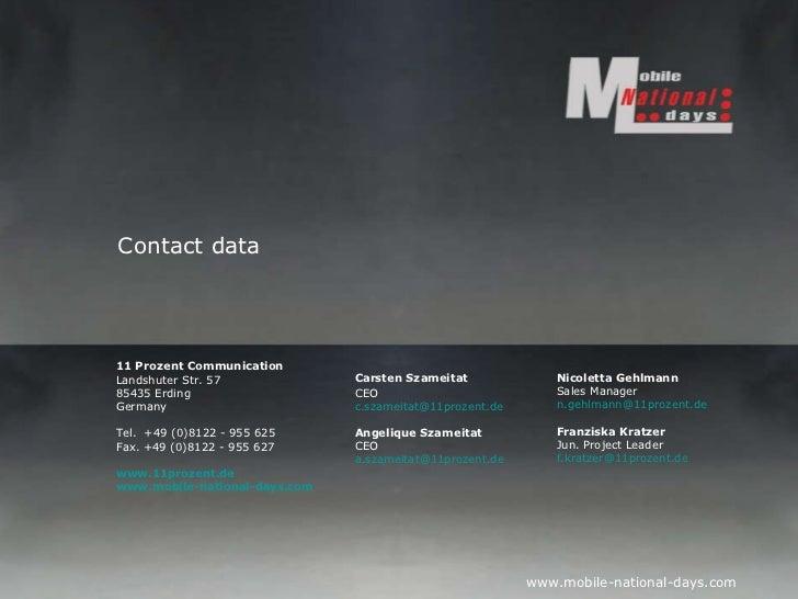 Carsten Szameitat CEO [email_address] Angelique Szameitat CEO [email_address] 11 Prozent Communication  Landshuter Str. 57...