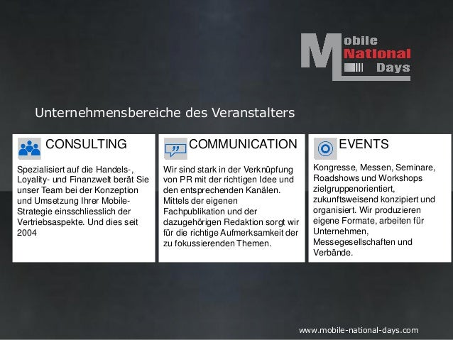 Unternehmensbereiche des Veranstalters       CONSULTING                          COMMUNICATION                         EVE...