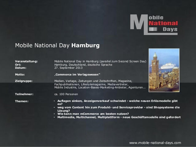 Mobile National Day HamburgVeranstaltung:   Mobile National Day in Hamburg (parallel zum Second Screen Day)Ort:           ...