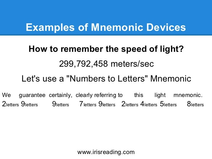mnemonic devices essay You will always use the directions as a checklist for writing your essay i want you to come up with two mnemonic devices one for the long essay and a separate one.