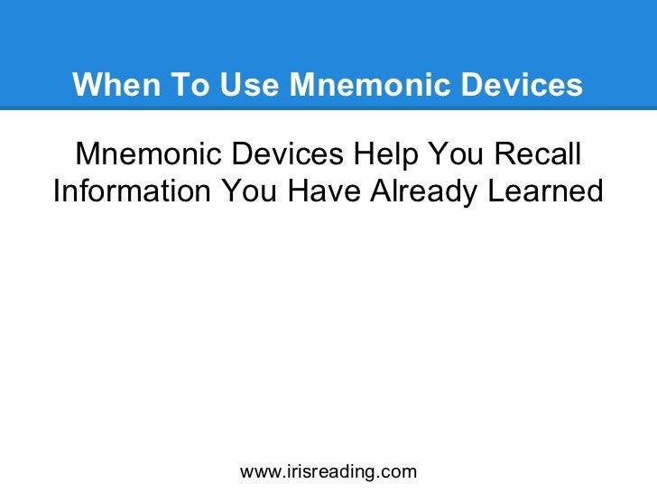 Updating memory using mnemonic devices