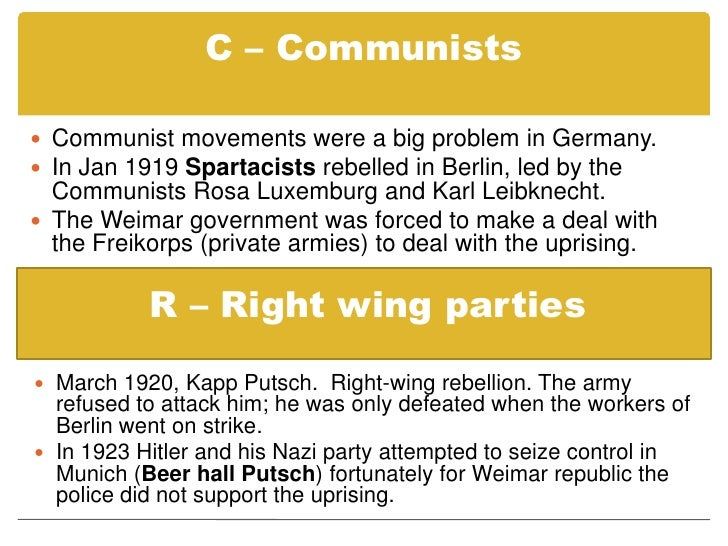Essay Example: Weimar governments