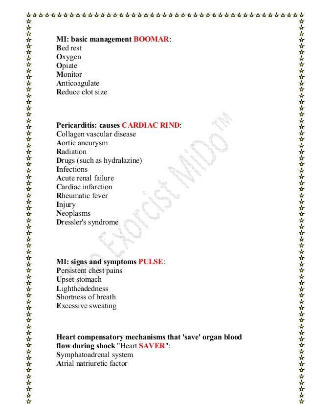 Cardiology Mnemonics Slide 3